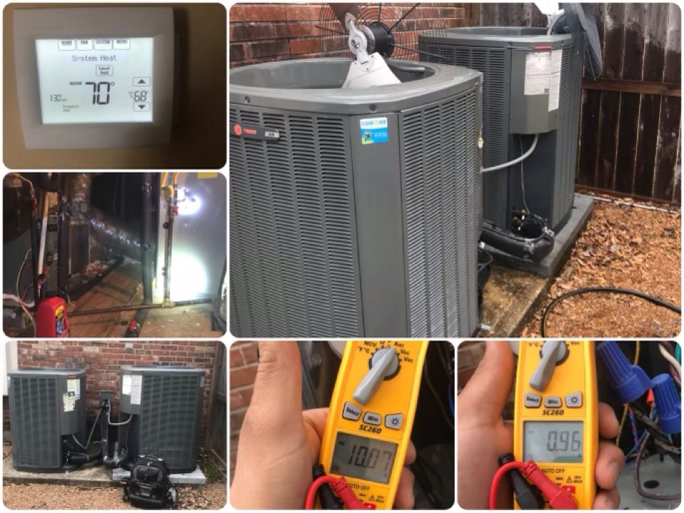 Missouri City, TX - Ac tune up, amped all major components and tighten all electrical, checked coils and treated drain lines, checked pressures and washed down condensers.