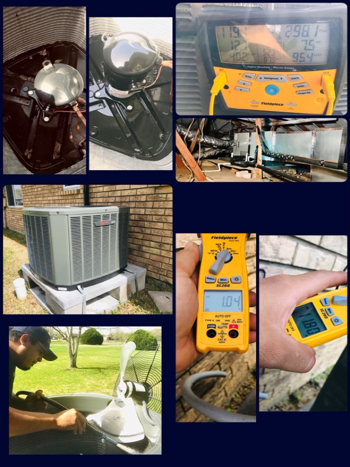 Manvel, TX - Ac tune up, amped all major components and tighten all electrical, coils and drains treated, pressures checked, condenser washed down, went over ductwork concerns.