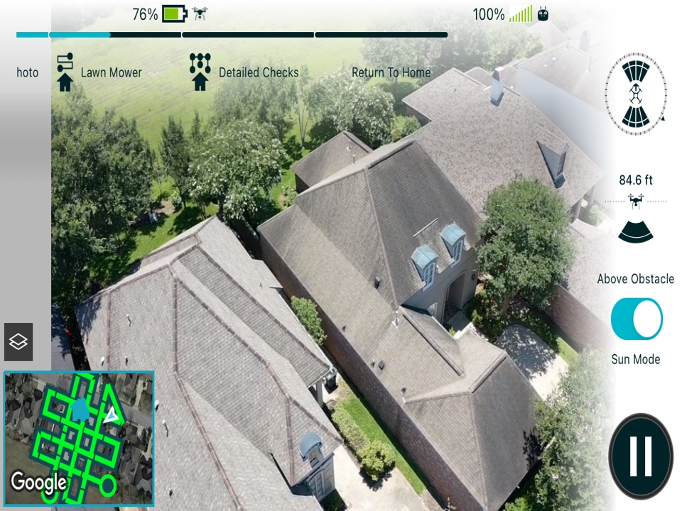 Baton Rouge, LA - Flying a drone inspection scan for this steep roof today. The drone's AI system lets us measure the roof and identifies any damage for a comprehensive roof report without ever climbing a ladder.