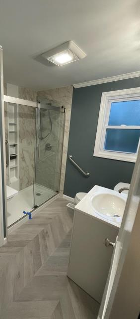 Northport, NY - Great look on this full bathroom renovation we installed today! With Kohler Luxstone you have so many options and that vinyl flooring looks superb! Great job guys! Also a big thank you to the Flathmann family! Your bathroom looks great! KOHLER Direct Advantage Magazine #kohlerluxstoneshower #bathroomdesign #luxury #homedecor