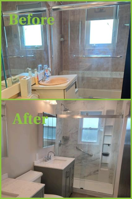 Wantagh, NY - Out with the old and In with the new!! In just 5 days... Look at the transformation!! Great job by our Elite crew and a special thank you to the Jurman family for the opportunity! #kohlerluxstoneshower #elitequality KOHLER #bathroomdesign #homedecor #homedesign #fullbathroomrenovation #designinspiration #luxurylifestyle