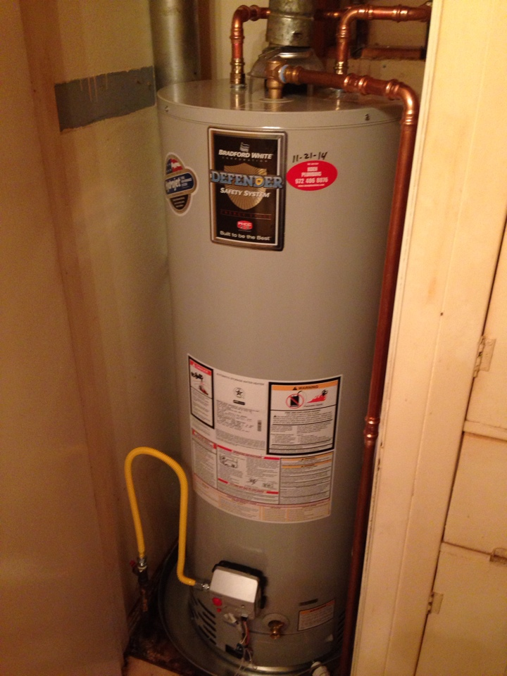 Irving, TX - Install water heater Bradford white