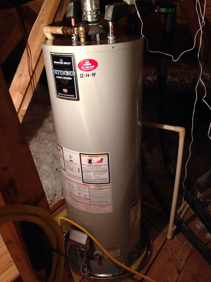 Allen, TX - Install two new Bradford white water heaters 50 gal gas in second floor attic