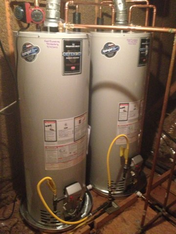Plano, TX - Installed two 50 gallon Bradford White gas water heaters. Installed with an automatic water shutoff and a Grundfos circulating pump.