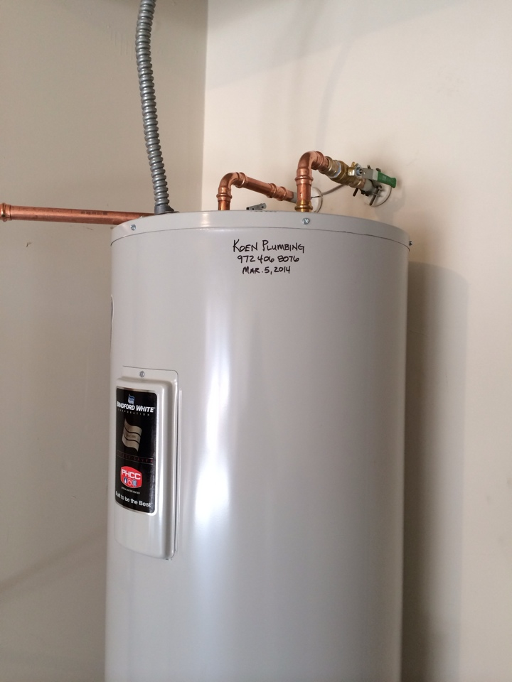 McKinney, TX - Replaced water heater in garage with new Bradford White 50 gallon electric water heater. Includes all new connections, quarter turn emergency water shutoff and new drain pan.