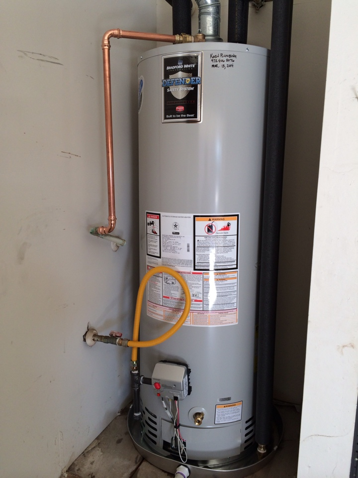 Installed new 50 gallon Bradford White gas water heater with new drain pan and a WAGS automatic water shutoff to protect against flood damage.