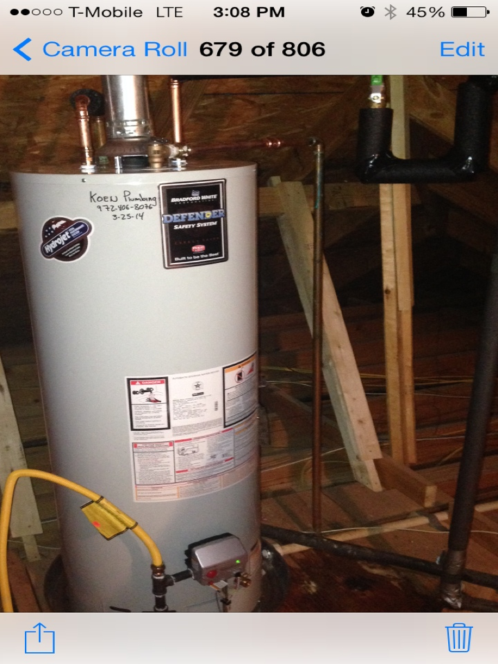 Allen, TX - Replaced water heater in attic with new 50 gallon Bradford White professional grade water heater. Installed new emergency water shutoff valve. Replaced cartridge in a Moen tub faucet that was leaking.