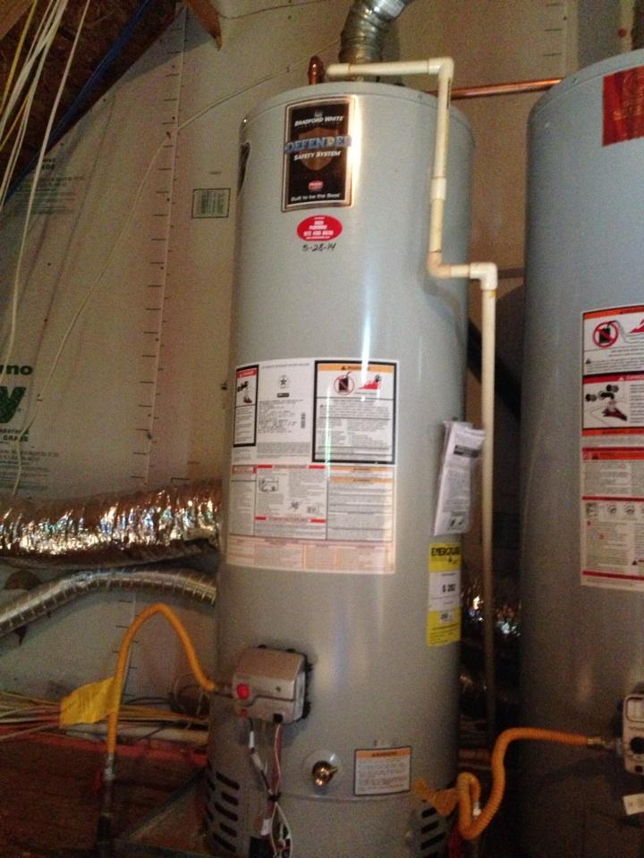 Prosper, TX - Replace new Bradford white water heater in second-floor attic
