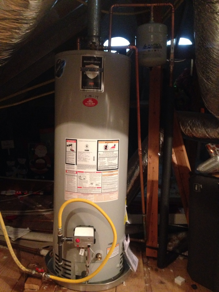 Frisco, TX - Install new Bradford white water heater in second floor attic