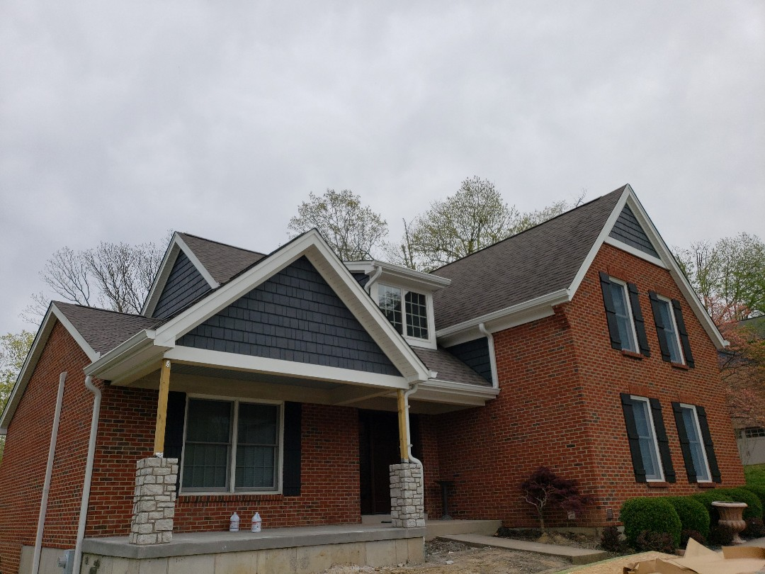 Fort Wright, KY - New shake siding, trim, soffit installation done by sterling exteriors