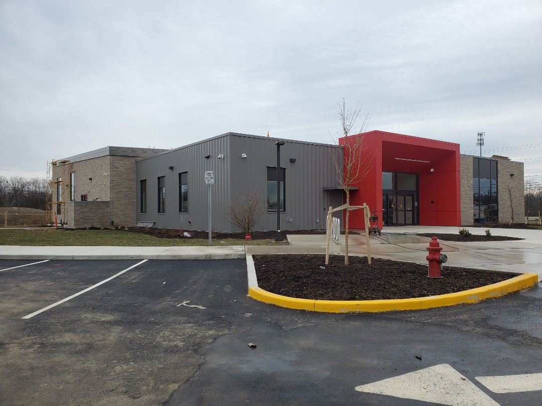 Dayton, OH - Tpo roofing, metal coping almost completed at the Trotwood library