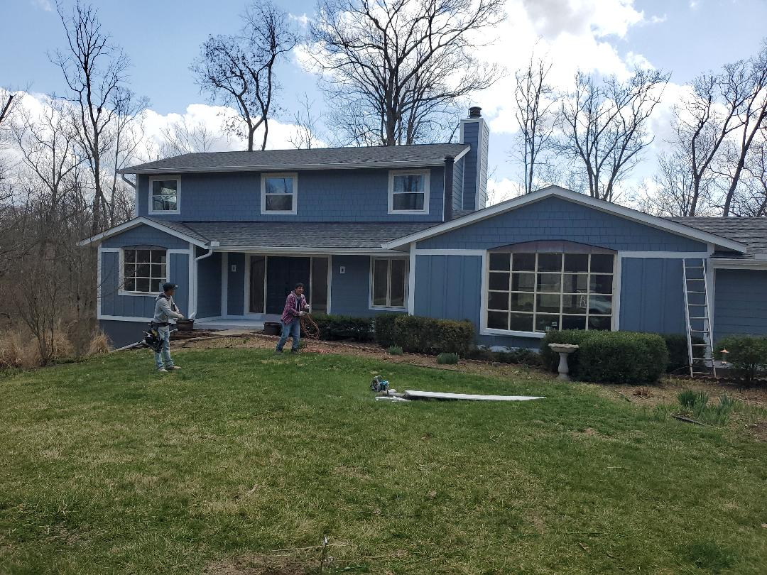 West Chester Township, OH - Wrapping up siding Roofing gutter job in West Chester oh