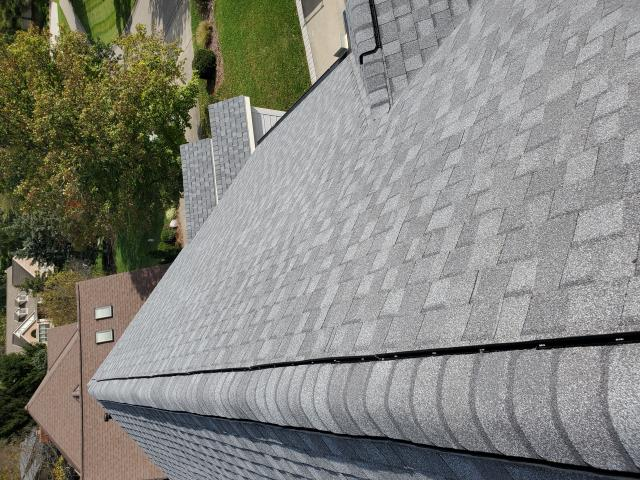 West Chester Township, OH - A great bird's eye view of a freshly finished roof in West Chester, OH.