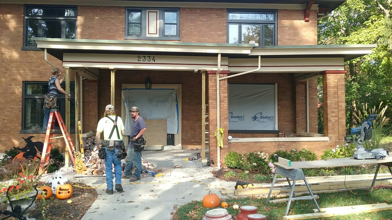 Cincinnati, OH - Beginning stages of a front porch remodel in Hyde Park