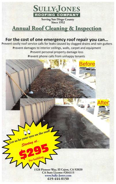 El Cajon, CA - Have you done your Spring Cleaning yet?  Did you know that your roof endures abuse from the elements? Sun, wind, and rain can take a toll on your roof, causing wear and tear that can lead to costly roof repairs, interior damage and unhappy tenants.  Sully-Jones offers low-cost roof cleaning and inspections with recommendations to assist in keeping your roof watertight. Don't wait until the Winter rains have you placing buckets under your leaking ceiling.  The best environment to have roof cleanings and inspections is when the rains are at bay and your roof is dry. Let us do the Spring Cleaning on your roof while you are chasing the dust bunnies out from under the bookcases!  Contact us today and I will be happy to explain our process and get you on our schedule! 1-800-611-3110 or email info@sully-jones.com.