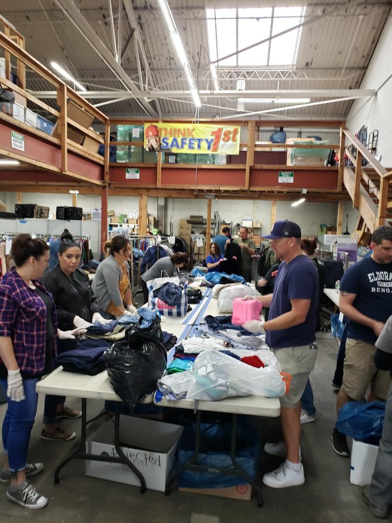 San Diego, CA - Volunteering for Veteran's Village-clothing sort for Military Standown!