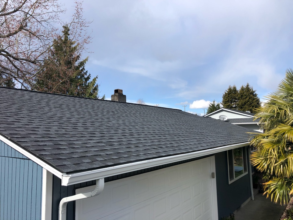 Tacoma, WA - Completed re-roof with tear off of old roofing shingles and replaced with GAF Timberline HDZ in charcoal.