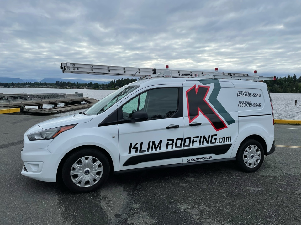 Lake Stevens, WA - Got the vehicle wrap done on our new re-roof sales van! Call Klim Roofing for your free re-roof estimate!