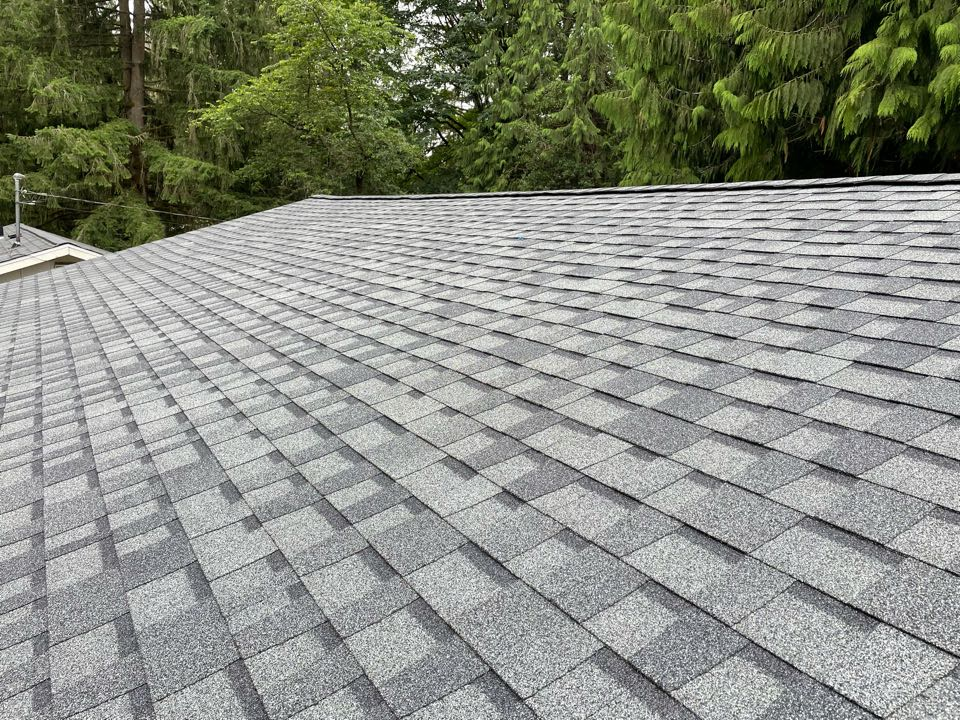 Woodinville, WA - Completed detached garage re-roof. Tear off of old roof system with an install of Pabco Premier roofing shingle in pewter gray.