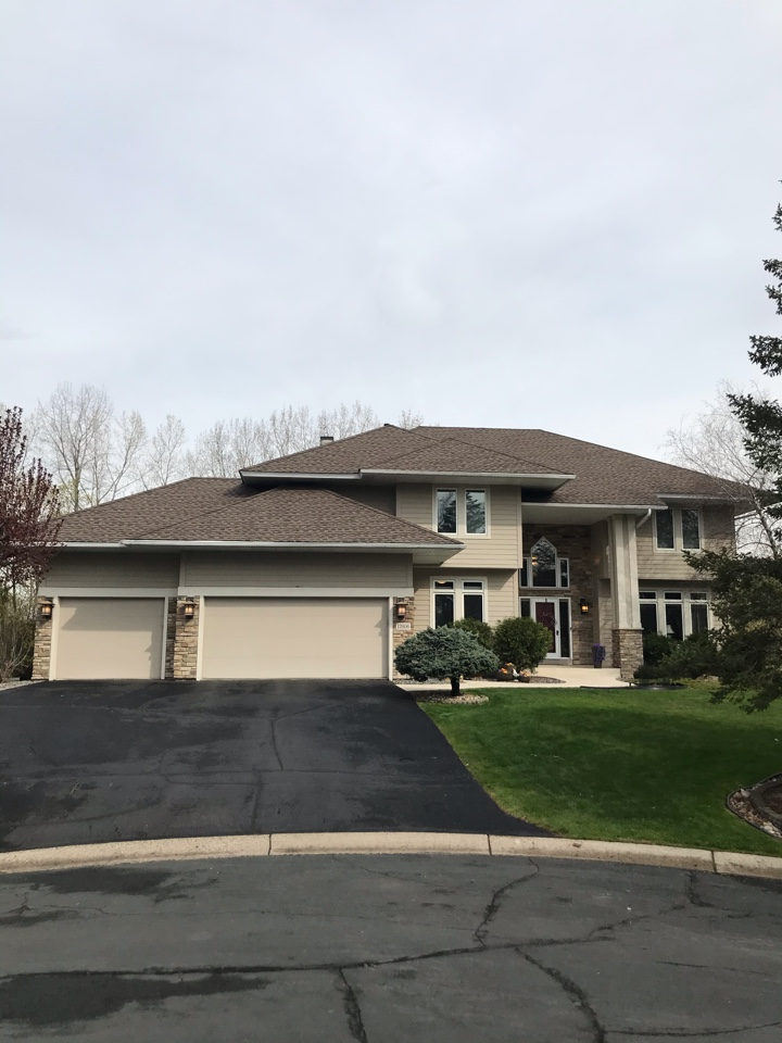 """Eden Prairie, MN - New asphalt shingles : Installed GAF Timberline HDZ Architectural Asphalt Shingle in the color """"Barkwood"""". All roofing material including underlayment material such as Tar Paper and Ice & Water was installed per GAF regulations/specifications. All metal flashing material such as Roof Vents, Pipe Stacks, Dormers, and Step Tins were installed in the color Brown to coincide with the color of the shingle. Great looking new roof!"""