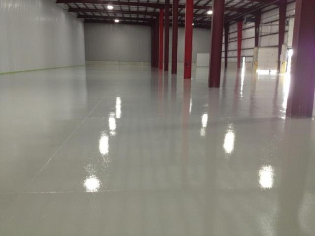 "Auburn, IN - Our Resinous 123 Floor System is a fabulous industrial epoxy flooring option when you have large areas you want to coat with a seamless, chemical UV, and scratch resistant ""clean floor"" look."