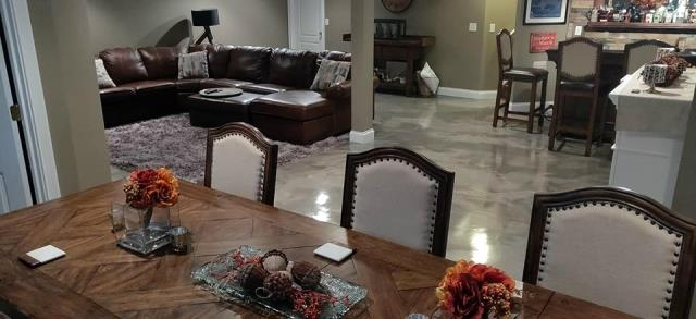 New Haven, IN - Not just your average concrete paint, we offer beautiful hand-designed custom floors for any space in your home! Epoxied floors are great for all living spaces!