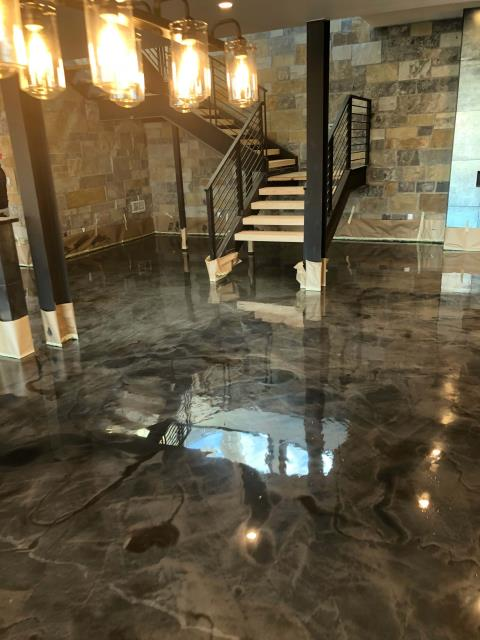 Fort Wayne, IN - Not just your average concrete paint, we offer beautiful hand-designed custom floors for any space in your home or business! Epoxied floors are great for all spaces!