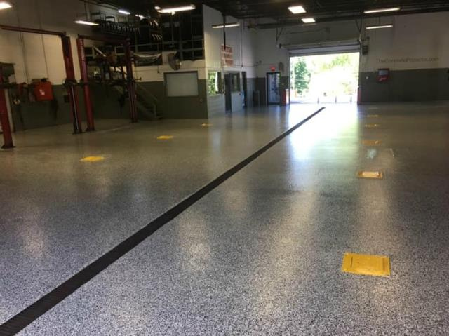 Mechanic shop looking worn down and on the verge of being dangerous? Protect your concrete and workers from slips, chemical spills/stains, water leaks, and more with GraniFlex!!