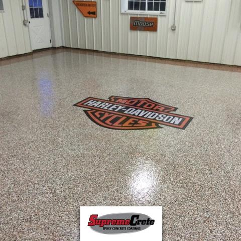 Huntertown, IN - My garage floor looks great! A perfect addition to making this space my new man-cave during summer and football season! The logo looks fantastic, especially right beside me and my wife's bike!! We love the result and would recommend their work to anyone!