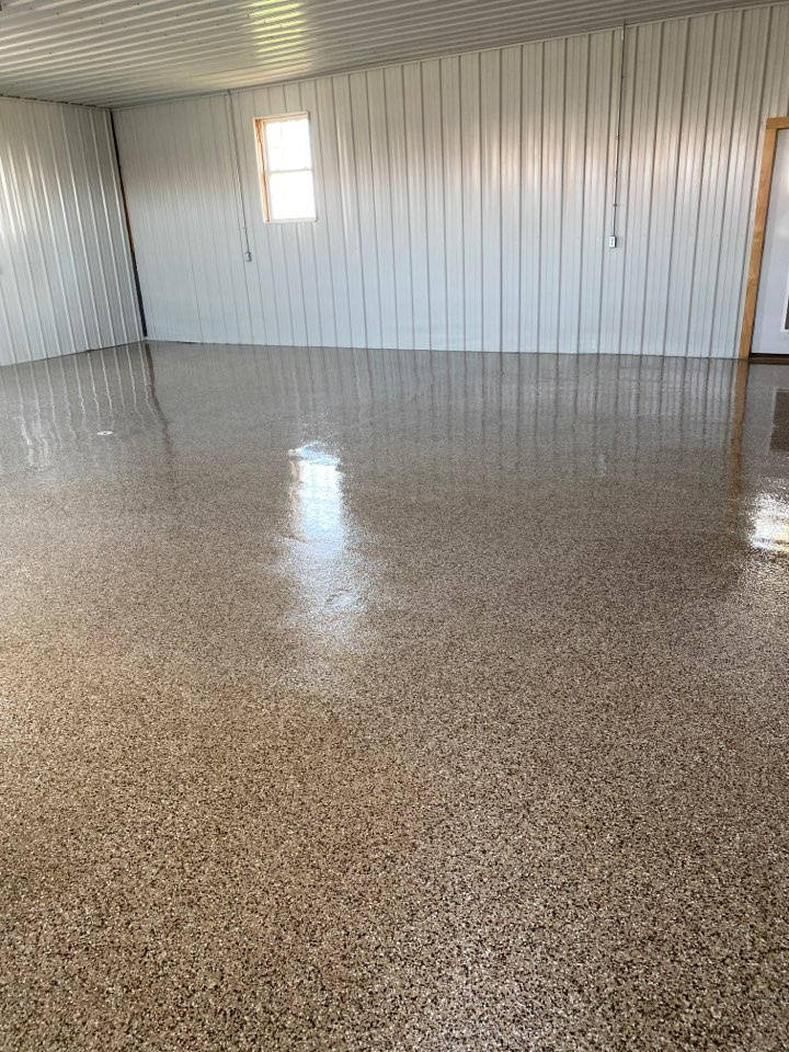 Columbia City, IN - Last day on the job here in Columbia Ohio, creating yet another beautiful garage flake floor!!
