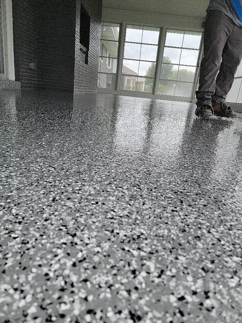 Warsaw, IN - We just finished the first clear coat on this resurfaced concrete floor for Steve. Near Warsaw Indiana.