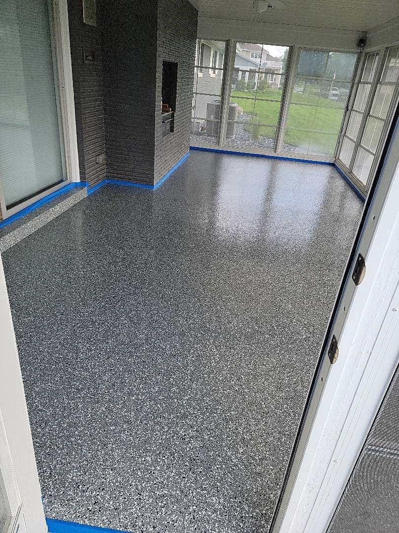 Warsaw, IN - The team is finishing up this awesome flake floor! Near Warsaw Indiana.