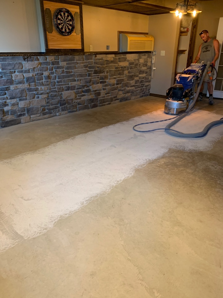 Auburn, IN - The team is prepping this floor for a rustic concrete wood look! Near Auburn Indiana.