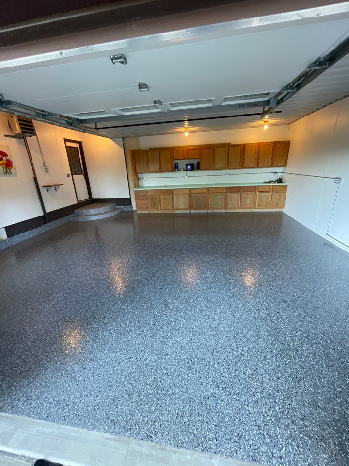 New Haven, IN - Finishing up this beautiful flake floor resurfacing. On to the next!