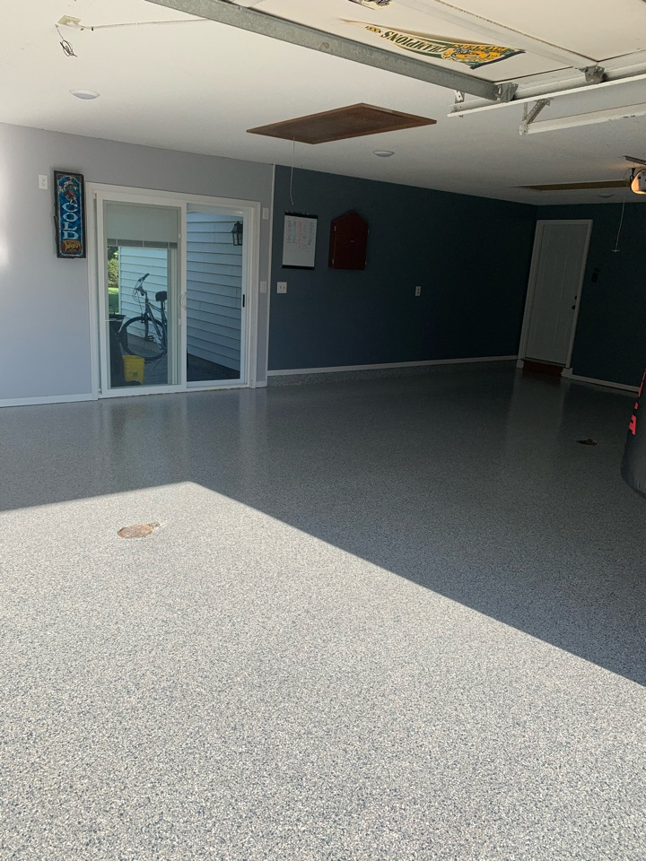 New Haven, IN - Final layer of the concrete coating  top coat is on!! Color: tidal wave