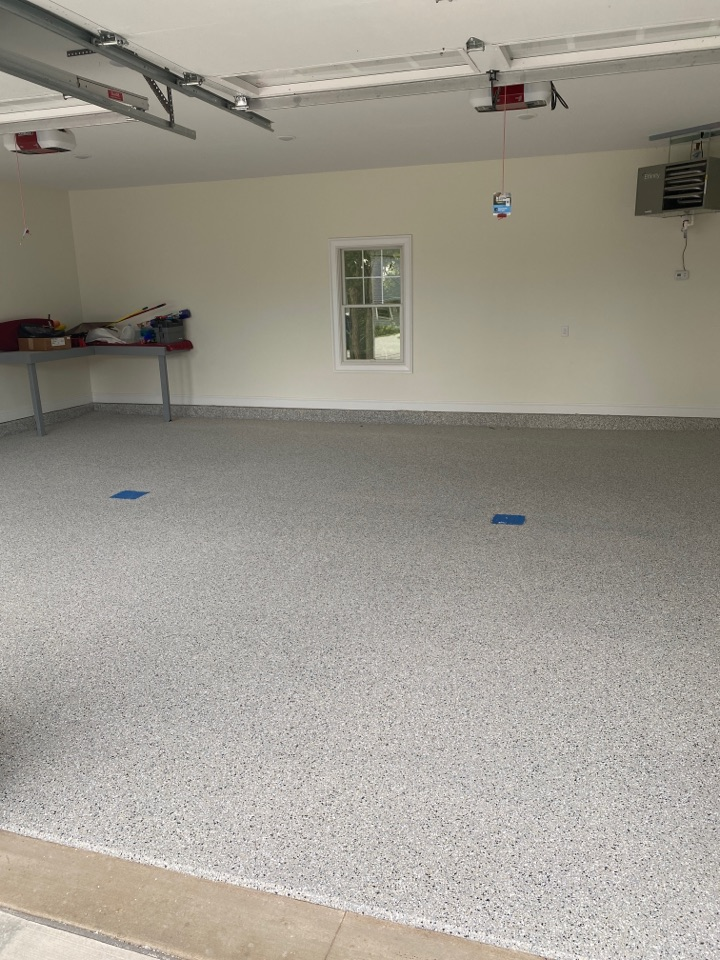 Getting ready to neat coat this BEAUTIFUL Epoxy Flake floor
