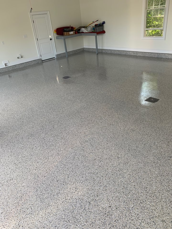 Final layer of top coat is down on this garage floor!! Color is cabin fever!