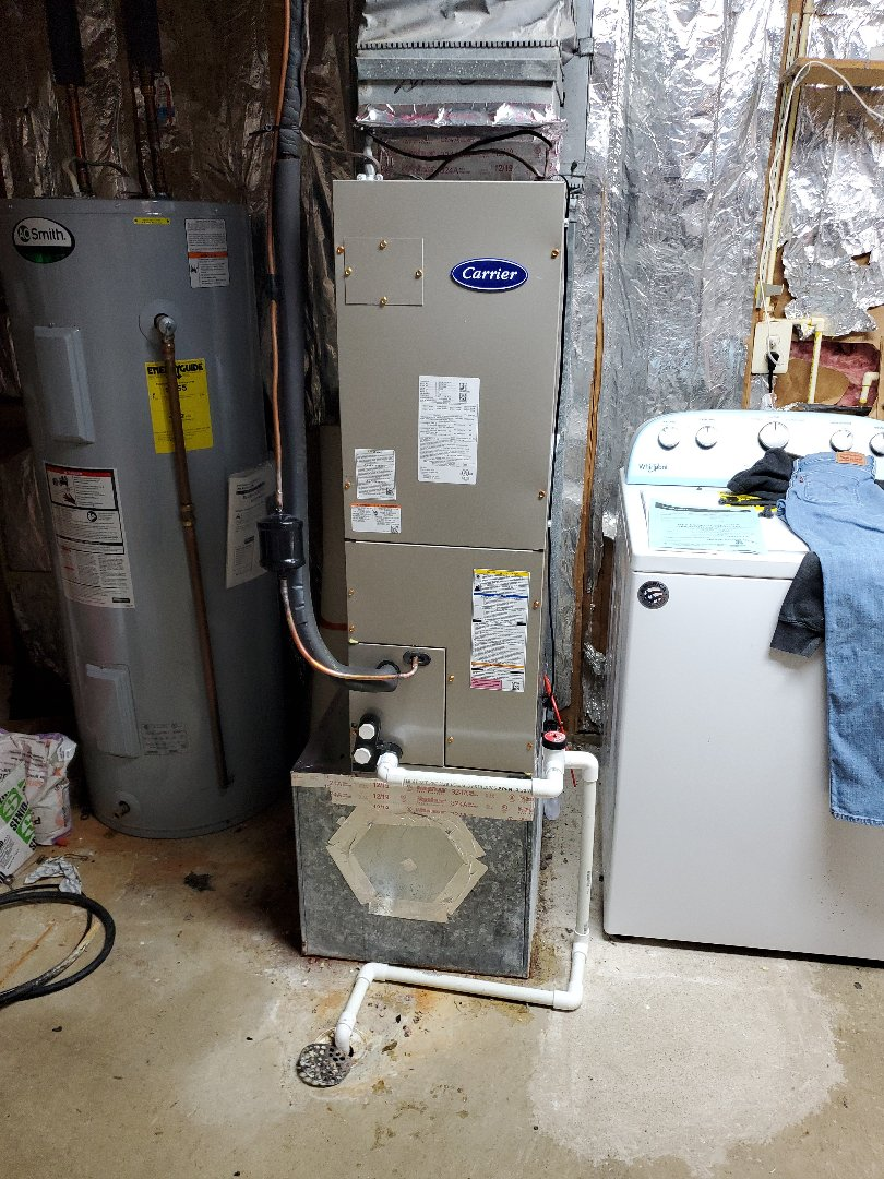 Arlington, VA - Installed a carrier fb4cnp024l00 fan coil 10 kw heatpack and 14 seer heat pump