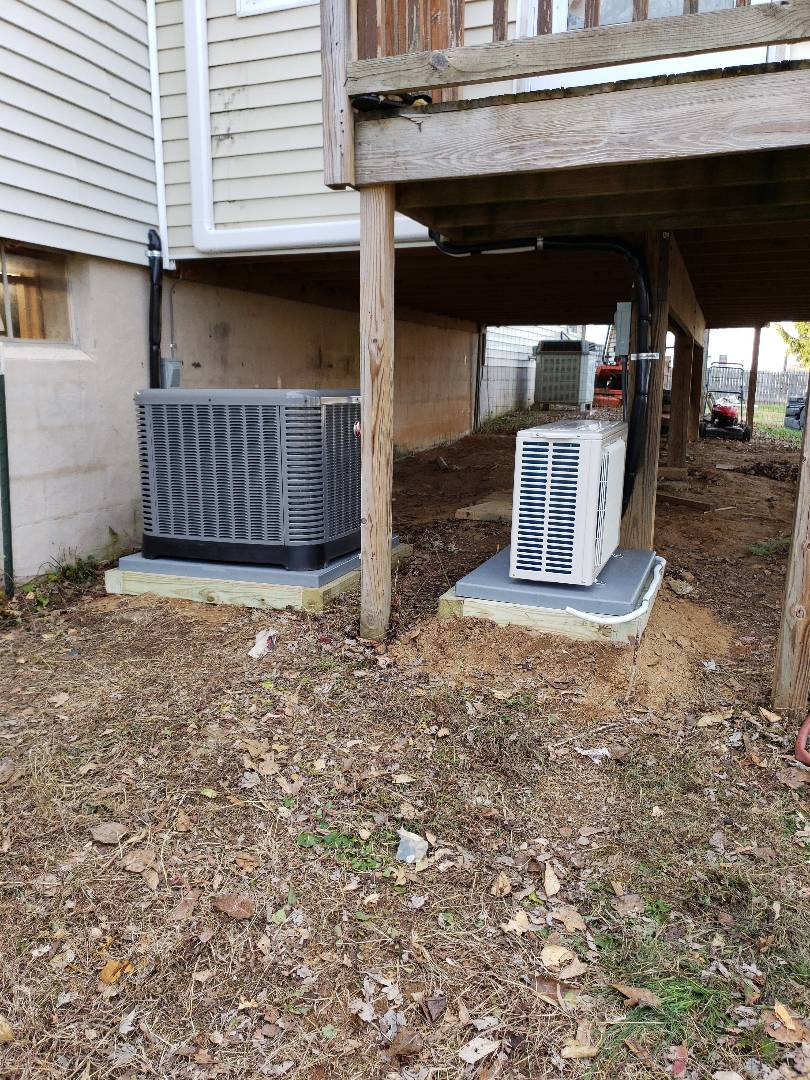 Colora, MD - Installed new Rheem heat pump system. Also installed new Mitsubishi mini split system for sun room