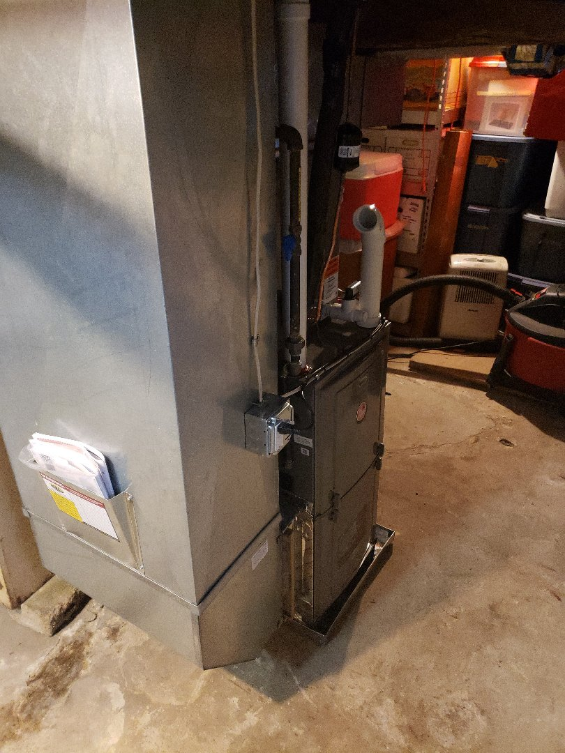 Havre de Grace, MD - Installed new Rheem gas furnace and air conditioner