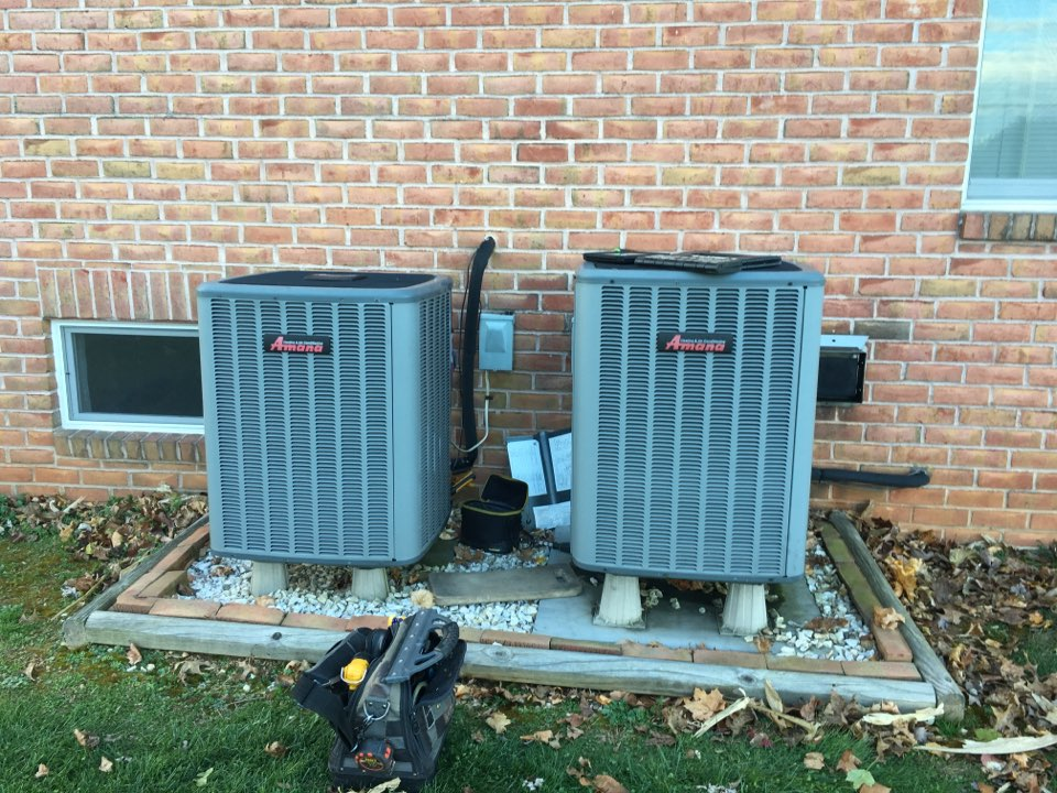 Forest Hill, MD - Preventive maintenance on Amana heat pump oil furnace duel fuel hybrid tune up