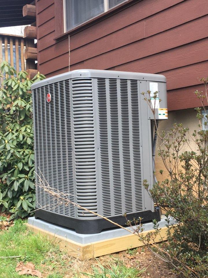 Port Deposit, MD - Preventative maintenance on Rheem air conditioner.