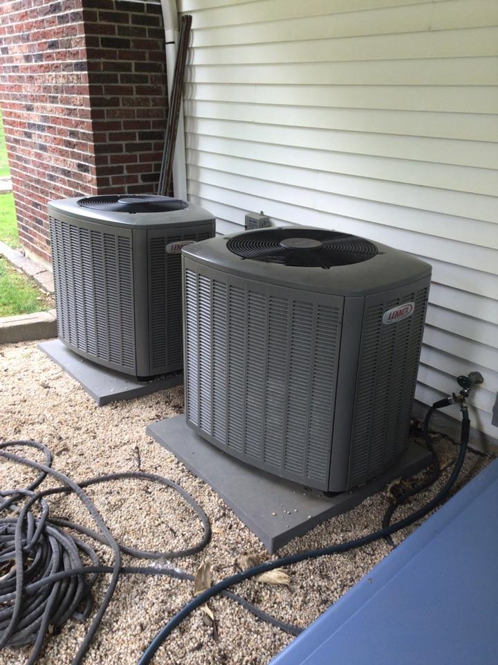 Port Deposit, MD - Preventive maintenance on 2 Lennox air conditioners