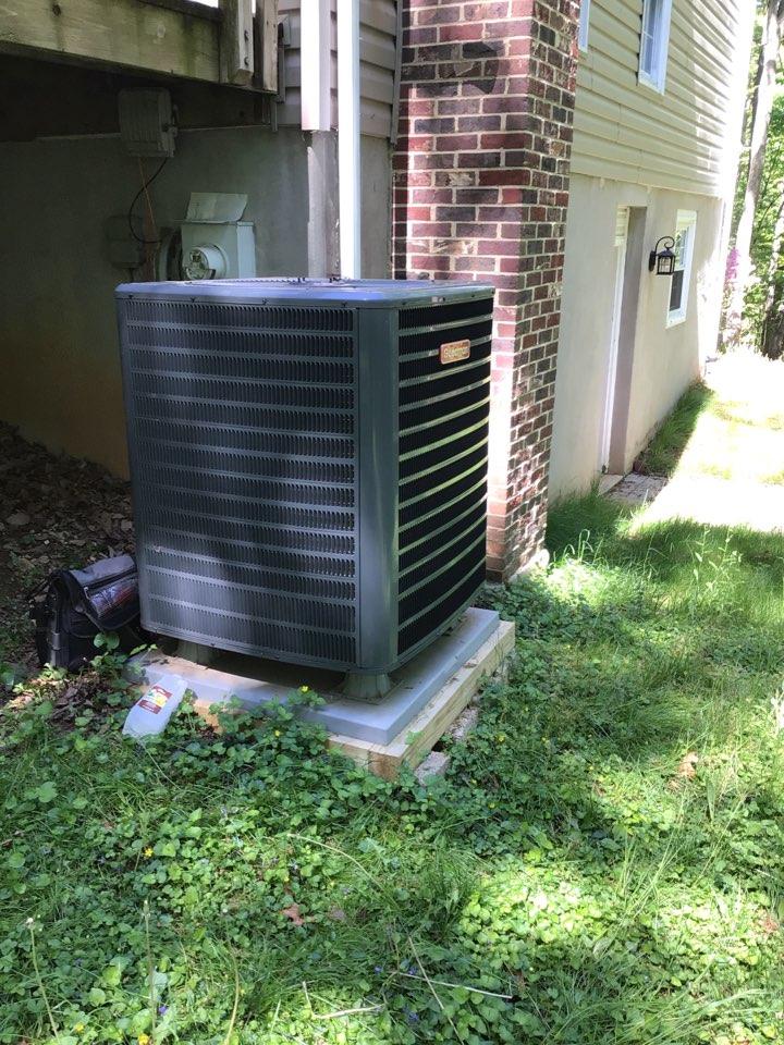Jarrettsville, MD - Preventive maintenance on a Goodman air conditioner