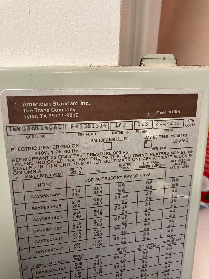 Perryville, MD - Trane blower motor time delay relay failure