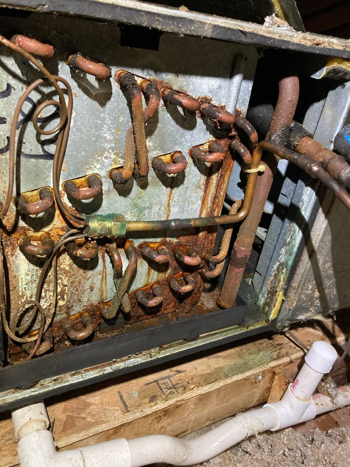 Port Deposit, MD - Condensate leak Rheem ac attic leak refrigerant R22