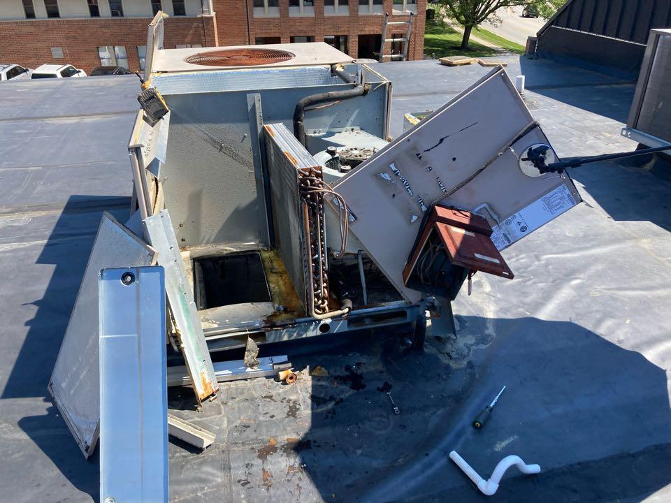 Bel Air, MD - Replace drain pan York rtu ac repair Level Home Services