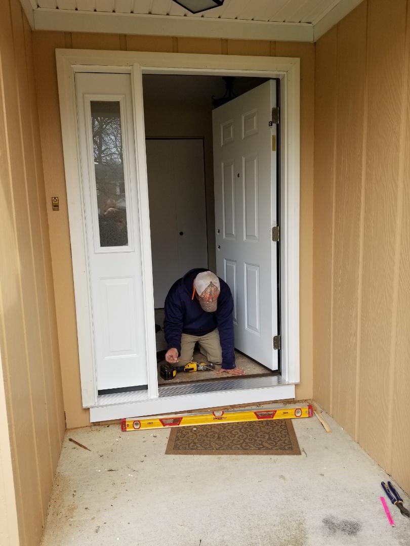 Fostoria, OH - ProVia Legacy entry door installation under way in Fostoria!