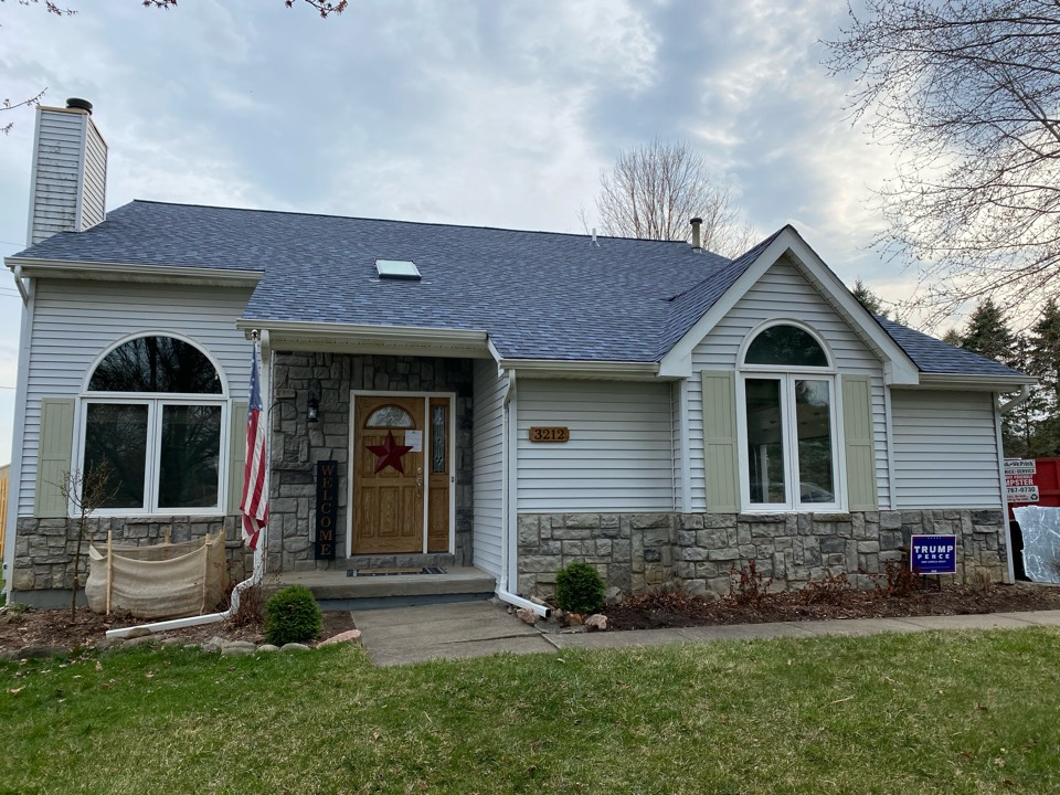 White Lake charter Township, MI - CertainTeed Landmark Pro Atlantic Blue on this home.  Beautiful 70° day here in Michigan. Perfect for the shingles to lay and seal up nice.  Glad we could get this roof done early in the season so the customers got the color they want it