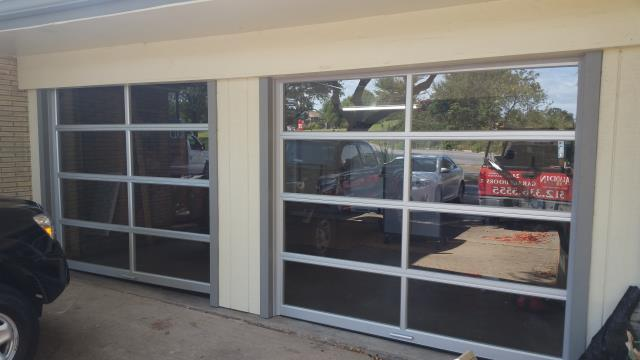 Liberty Hill, TX - Replaced 2 -  8 X 7 garage doors with glass garage doors and Liftmaster garage door openers in Liberty Hill.